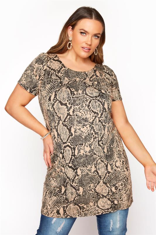Plus Size  Brown Snake Print Tunic