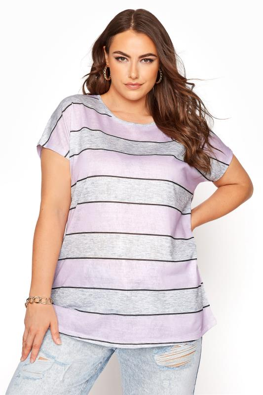 Plus Size  Lilac and Grey Striped Short Sleeve T-Shirt