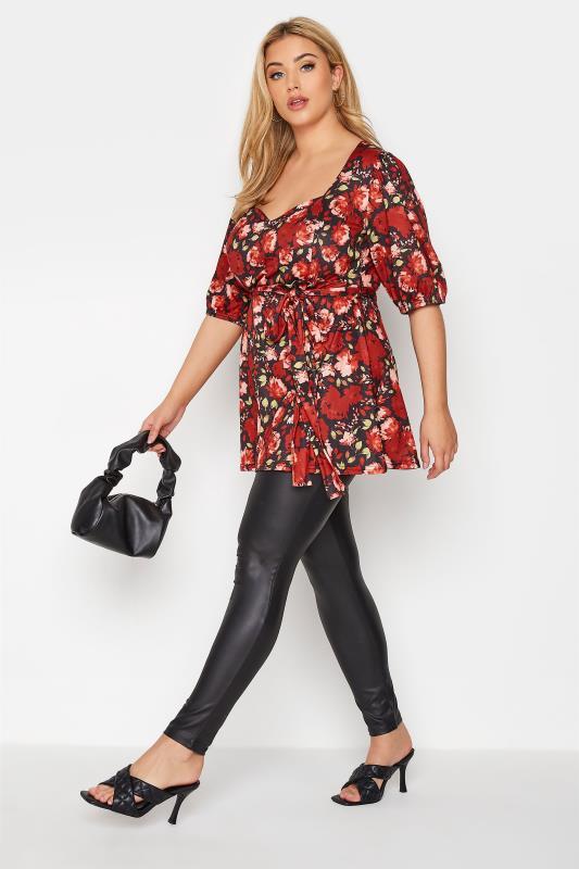 YOURS LONDON Black Floral Print Tie Waist Peplum Top_B.jpg