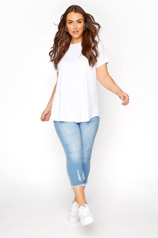 Plus Size  Light Blue Cat Scratch Cropped Jeggings