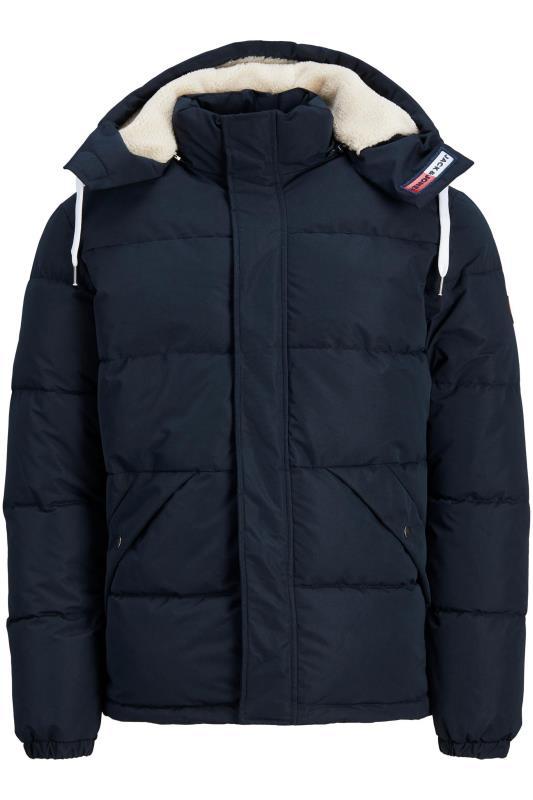 Plus Size  JACK & JONES Navy Hooded Puffer Jacket