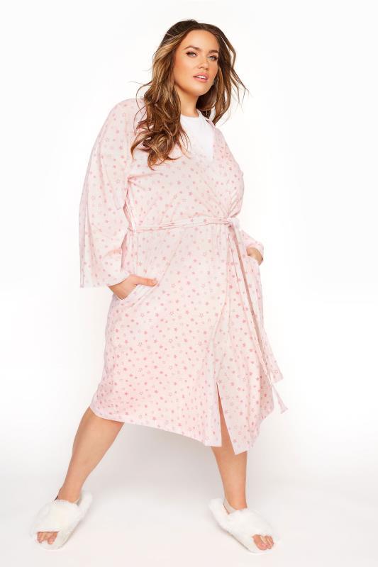 Pink Cotton Jersey Star Robe