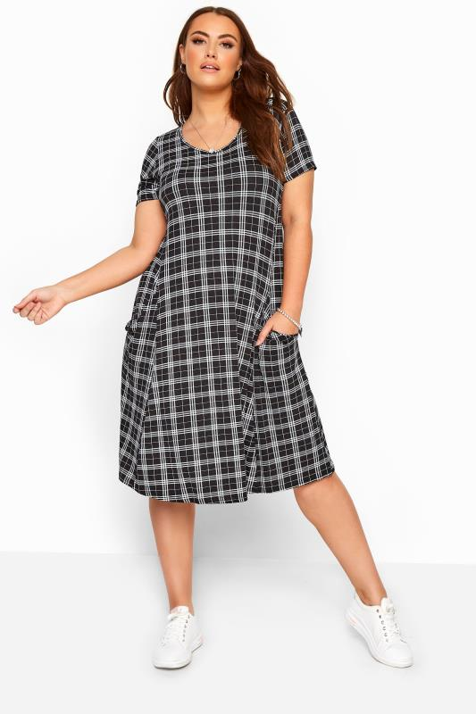 Plus Size Black Dresses Black Check Drape Pocket Dress