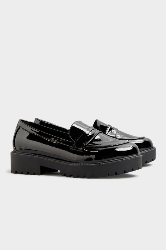 Black Patent Chunky Loafers In Extra Wide Fit_C.jpg