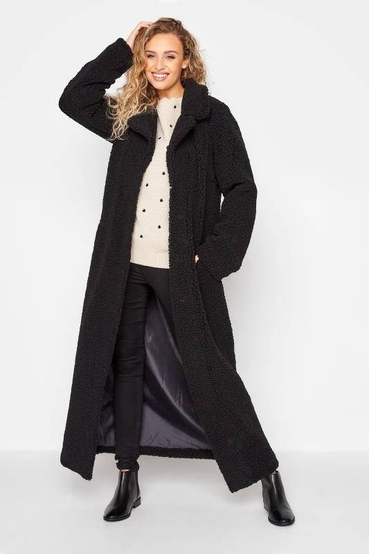 Tall  LTS Black Teddy Maxi Coat