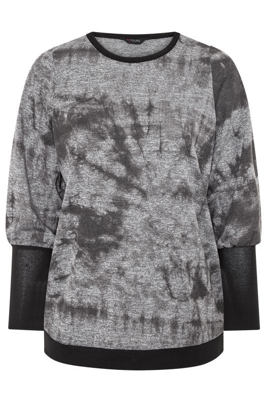 Grey Tie Dye Cuffed Knitted Top