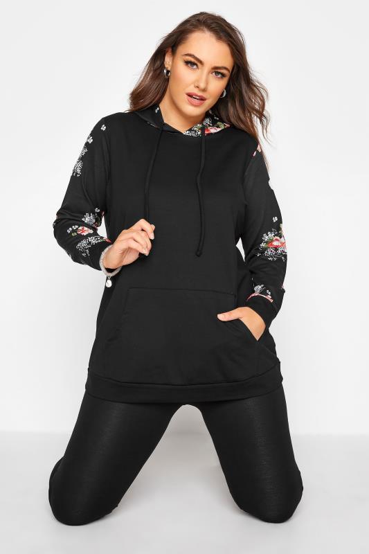 Plus Size  Black Floral Sleeve Hoodie