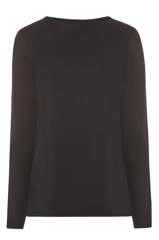 Black Henley Button Long Sleeve Top