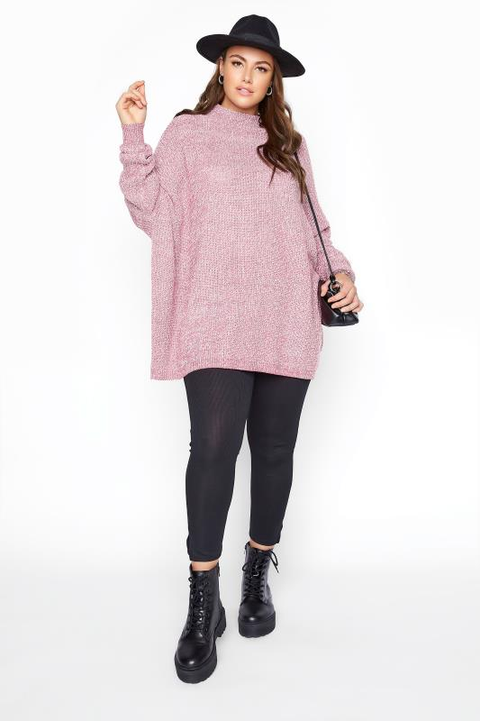 Pink Marl Oversized Knitted Jumper