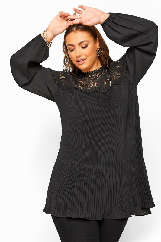 Plus Size Blouses YOURS LONDON Black Lace Pleated Blouse