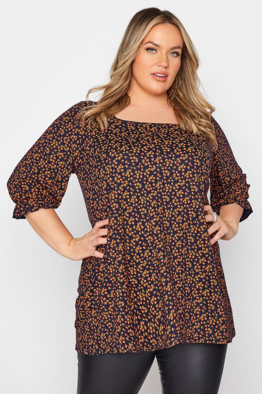 Plus Size  LIMITED COLLECTION Navy Ditsy Balloon Sleeve Top