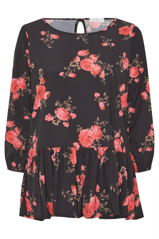 Plus Size  YOURS LONDON Black Rose Floral Peplum Top