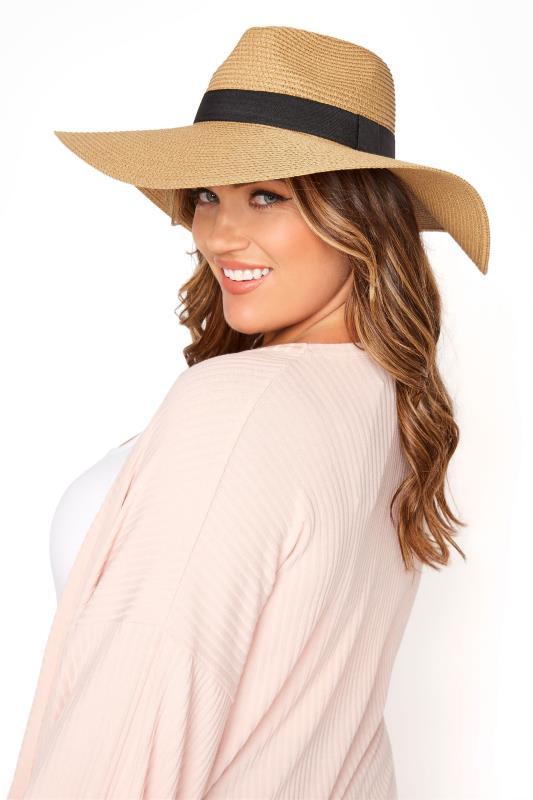 Plus Size  Natural Straw Wide Brim Fedora Hat