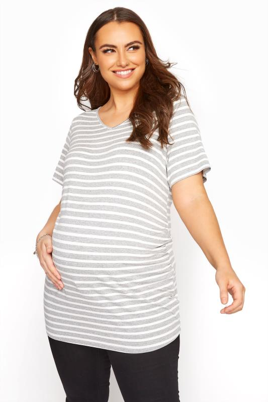 BUMP IT UP MATERNITY Grey Stripe Longline T-Shirt_A.jpg