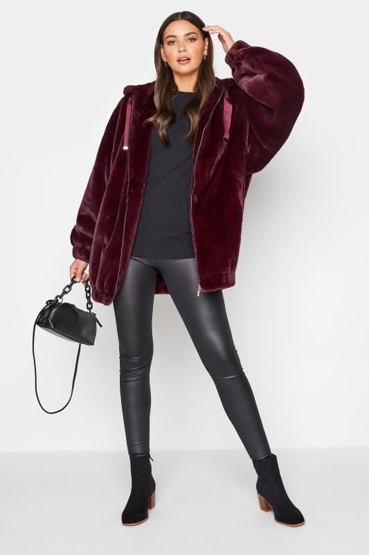 LTS Wine Red Oversized Faux Fur Jacket_B.jpg