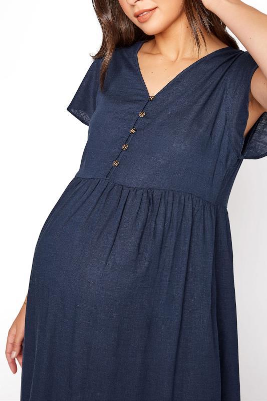 LTS Maternity Navy Linen-blend Dress_D.jpg