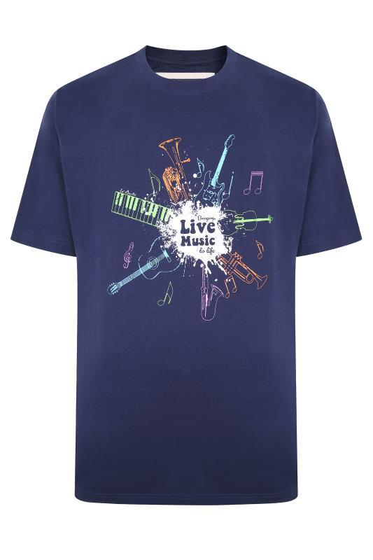 ED BAXTER Marineblaues T-Shirt mit 'Music' Grafik Print