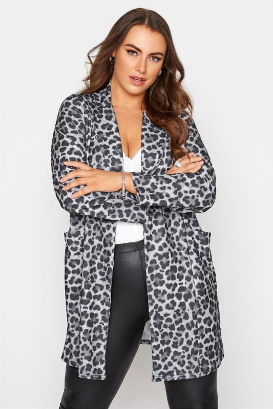 Tallas Grandes Charcoal Grey Leopard Print Blazer