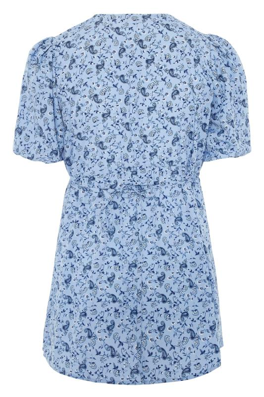 LIMITED COLLECTION Blue Paisley Print Wrap Top_BK.jpg