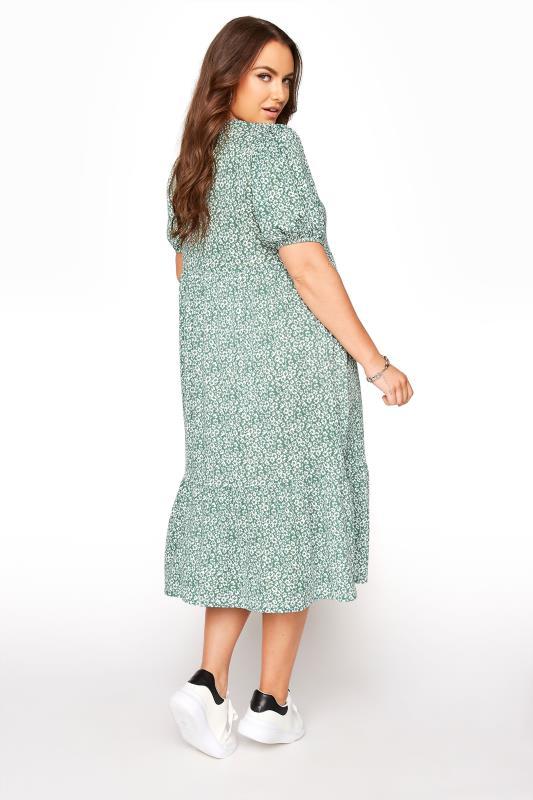 Sage Green Floral Frill Hem Midi Dress_C.jpg