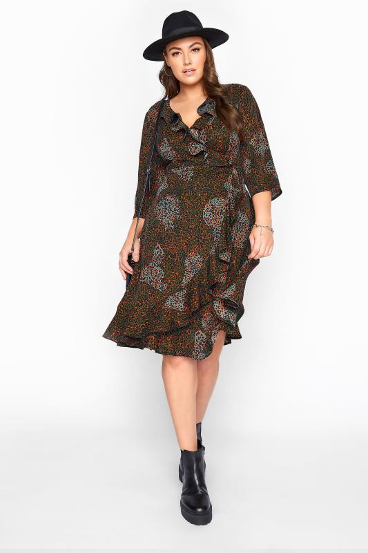 Plus Size  YOURS LONDON Green Animal Print Wrap Dress