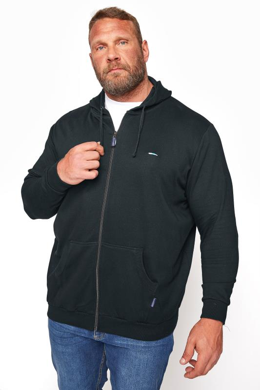 Casual / Every Day Grande Taille BadRhino Black Essential Zip Through Hoodie