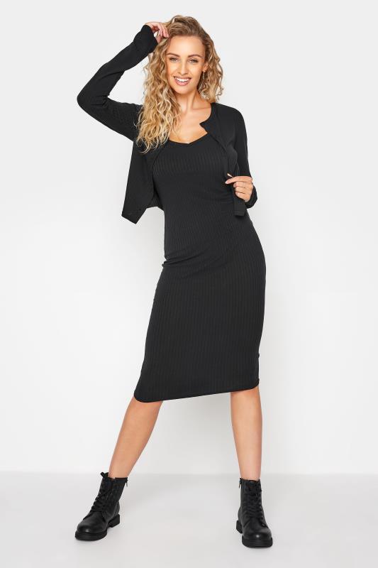 LTS Black Rib Dress & Cardigan Set