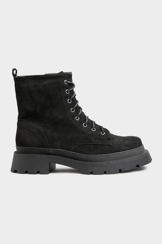 Black Faux Suede Chunky Lace-Up Boot in Regular Fit_A.jpg