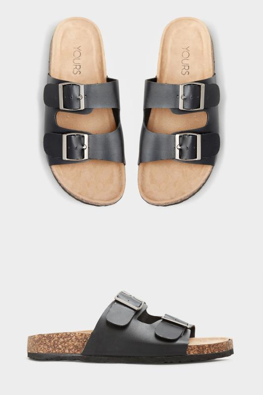 Black Buckle Strap Footbed Sandals In Extra Wide Fit