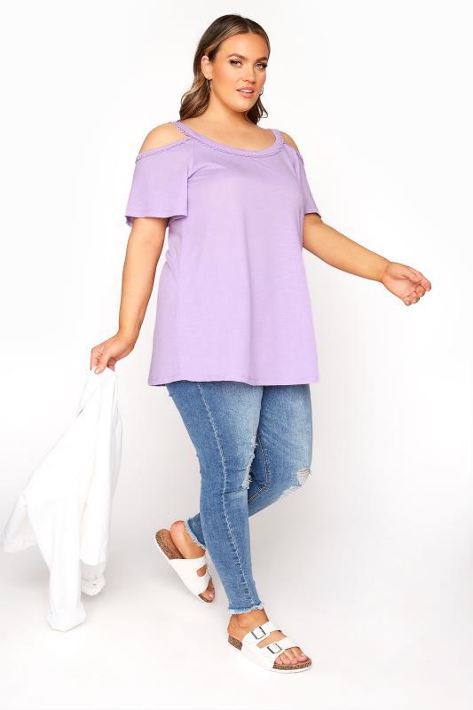 Lilac Cold Shoulder Strap T-Shirt_B.jpg