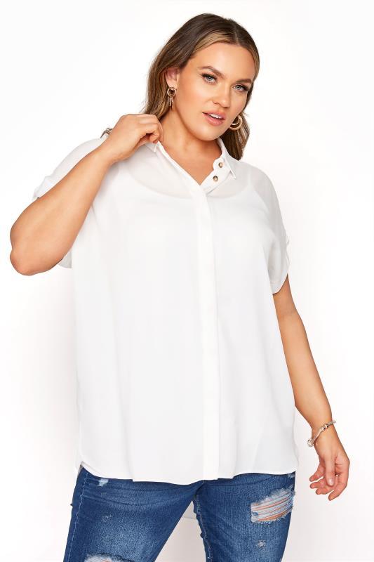 Plus Size  White Short Grown On Sleeve Dipped Hem Shirt