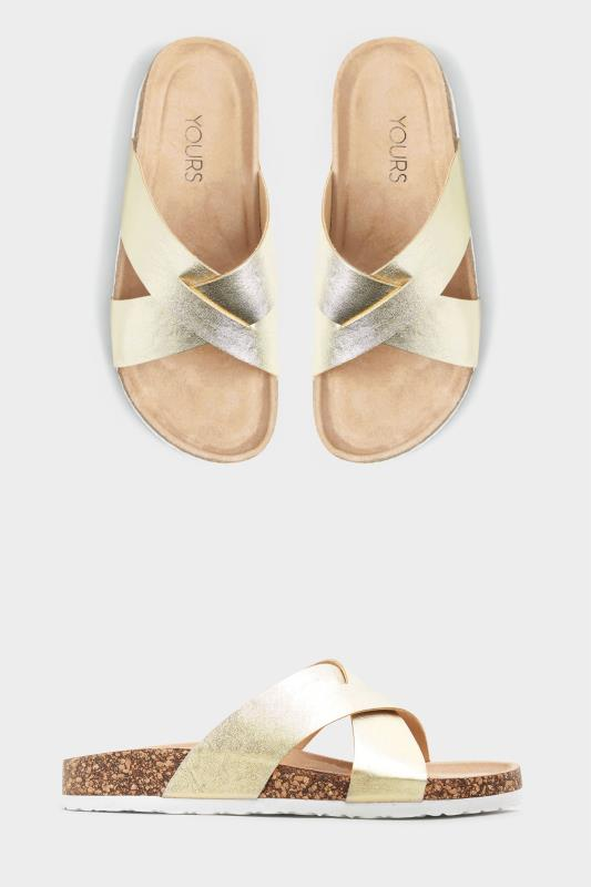 Gold Cross Strap Sandals In Extra Wide Fit
