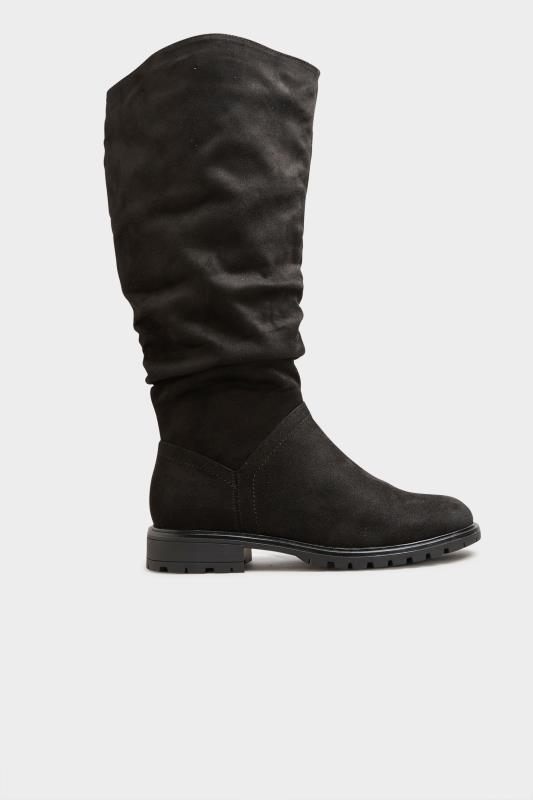 Black Ruched Cleated Boots In Regular Fit_B.jpg