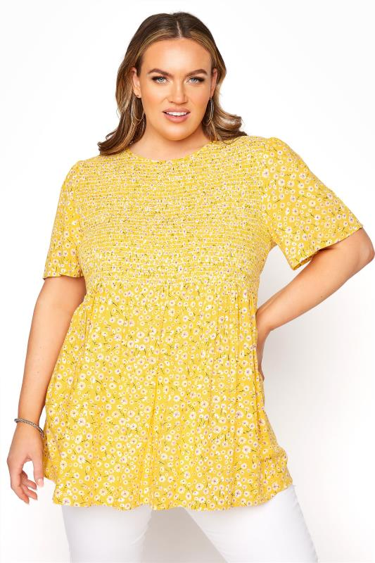 Plus Size  LIMITED COLLECTION Yellow Floral Shirred Peplum Top