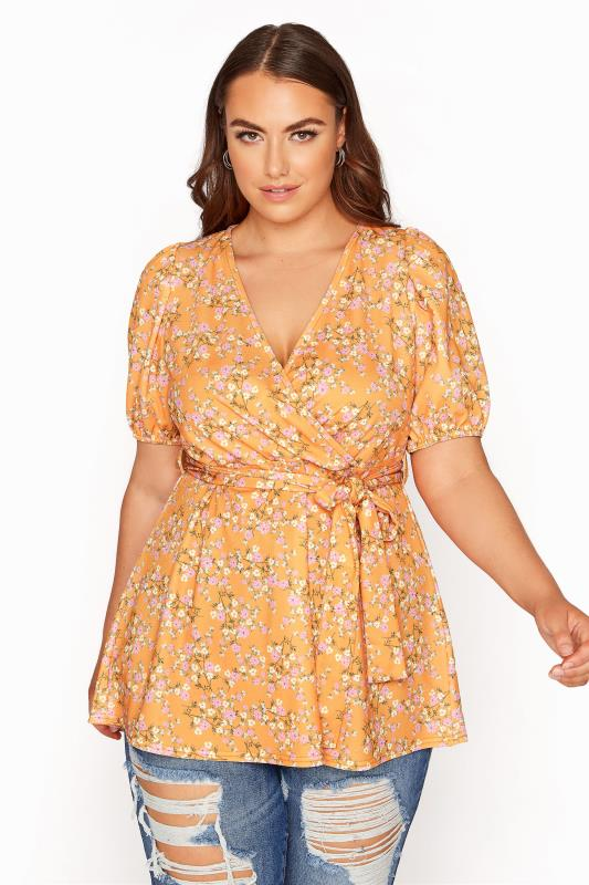 Plus Size  YOURS LONDON Orange Ditsy Floral Puff Sleeve Wrap Top