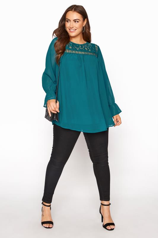 YOURS LONDON Teal Lace Blouse_B.jpg
