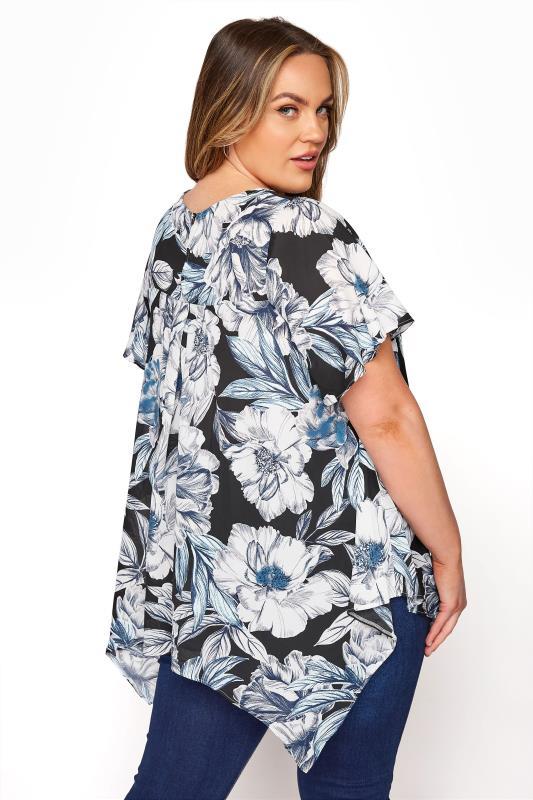 Black Floral Angel Sleeve Hanky Hem Top_C.jpg
