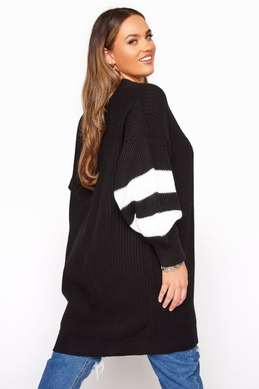 Plus Size  Black Varsity Stripes Knitted Cardigan