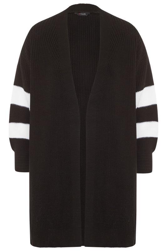 Plus Size  Black Varsity Stripes Knitted Cardigan