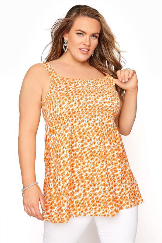 Orange Floral Shirred Smock Vest Top_A.jpg