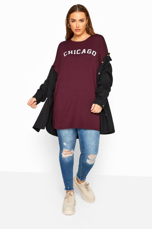 LIMITED COLLECTION Plum 'Chicago' Slogan Oversized Top