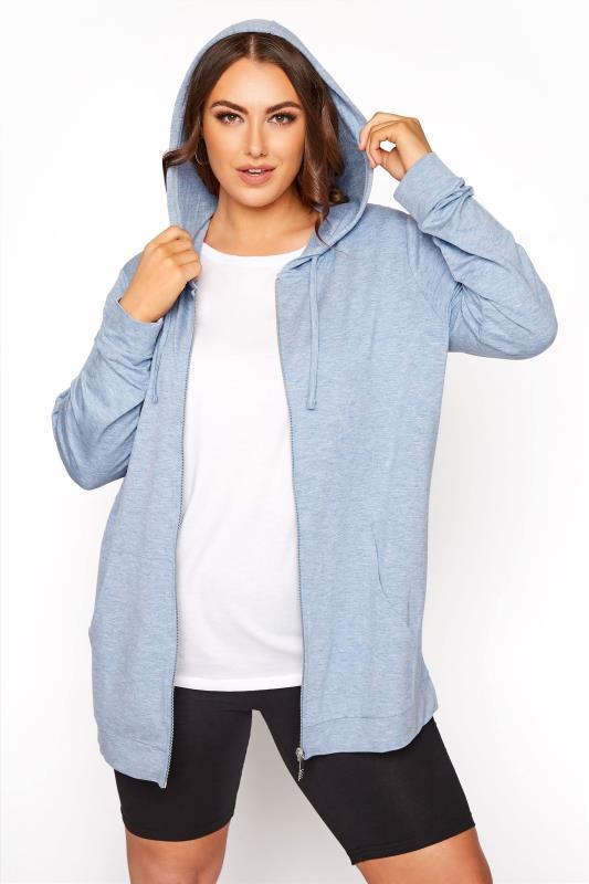 Plus Size  Light Blue Marl Zip Through Hoodie