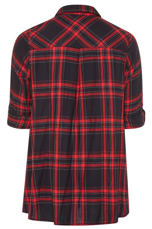 Red Metallic Zip Neck Check Shirt