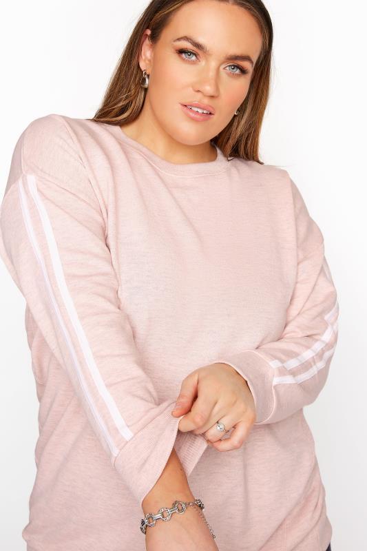 Tallas Grandes Pink Side Stripe Varsity Sweatshirt