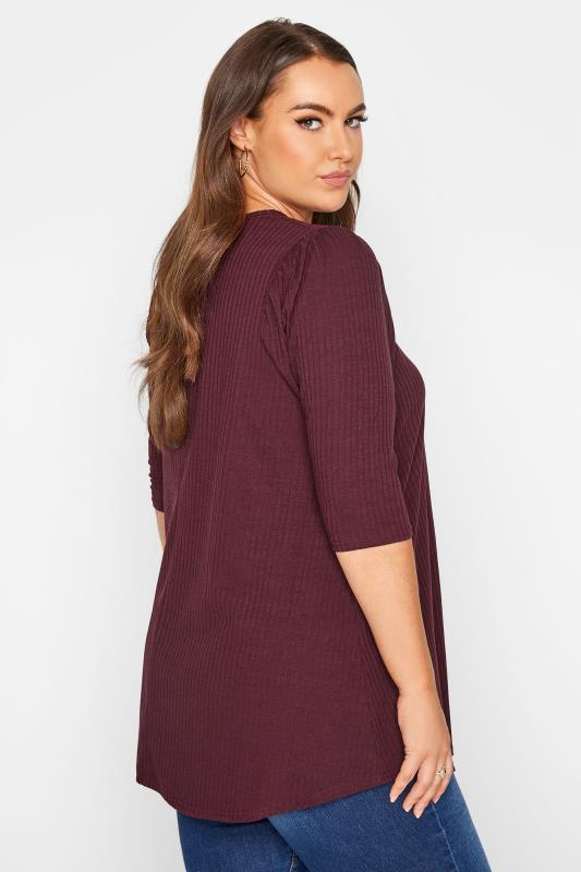 LIMITED COLLECTION Berry Purple Puff Sleeve Ribbed Top_C.jpg