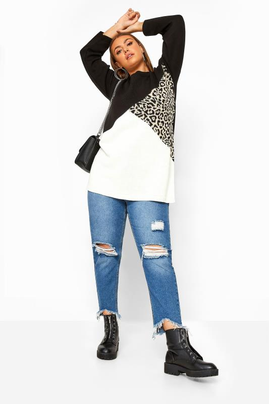 Black Animal Colour Block Chunky Knitted Jumper