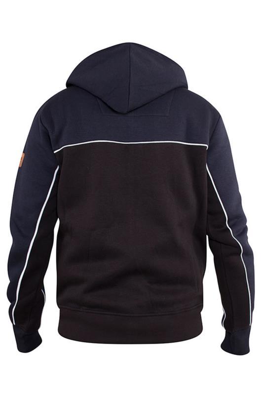 D555 Black & Navy Vincent Zip Through Hoodie