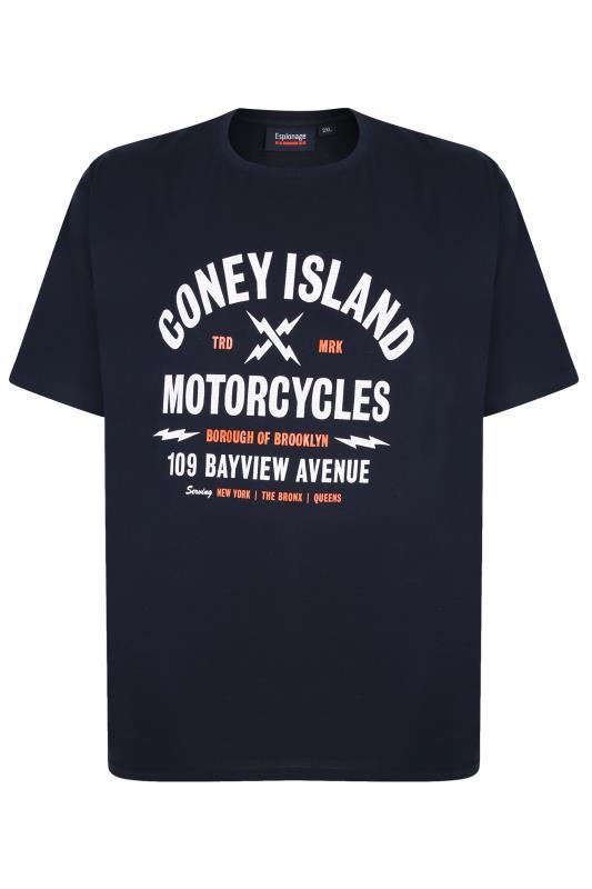 ESPIONAGE Navy Coney Island Motorcycles Graphic Print T-Shirt