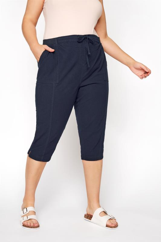 Navy Cool Cotton Cropped Trousers