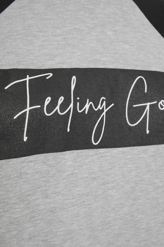 LIMITED COLLECTION Grey 'Feeling Good' Slogan Top_S.jpg